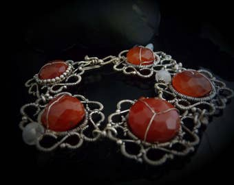 Coral Carnelian Moonstone  Orange Wirewrapped bracelet - OOAK, filigree, sterling silver