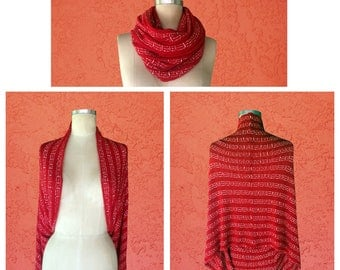Red Shawl/Scarf 2 in 1 / Multi Use / Bohemian Accessories