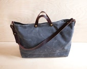 Large Waxed Canvas Shoulder Bag | Slate Grey