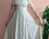 1970s Gunne Sax Style Dress Renaissance Maxi Dress with LACE up bust Small