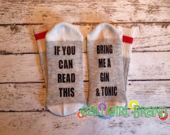 Bring me Gin & Tonic socks, FAST SHIP, Wine Socks, Bring Me Socks, Custom socks, Saying Socks, Novelty Socks, Christmas Socks, Stocking