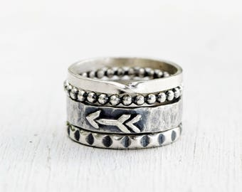 Boho Stacking Ring Set - 4 Sterling Silver Rings - Bohemian Stackers - Oxidized Silver - Gift For Her - Hammered Silver - Metalwork