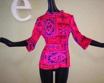 Vintage 60s 70s Hawaiian Tunic Top 1960s 1960 70s MOD Groovy Tiki Oasis NEON Pink Purple Bell Sleeve Blouse Shirt Tribal Ethnic Print Small