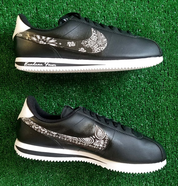 the best attitude e16ee de82a ... Custom Black Bandana Nike Cortez Leather BlackWhite, FREE SHIPPING,  paisley, bandanna, Nike ...
