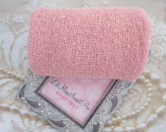 """Baby Pastel Pink Stretch Knit Wrap - 12x55"""" laying flat, up to 39x72"""" when stretched! For Newborn photos, Lil Miss Sweet Pea ready to ship"""