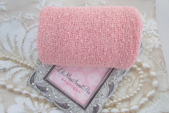 Baby Pastel Pink Stretch Knit Wrap - 12x55 inches laying flat, up to 39x72 inches when stretched! For Newborn photos, Lil Miss Sweet Pea 43