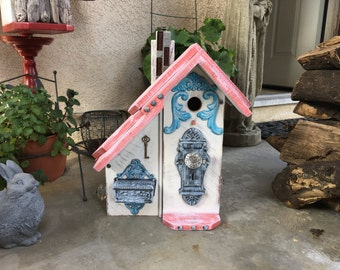 Functional Birdhouses For Birds, Best Handmade Condo Wooden Bird Houses By Michele McKee-Orsini, Coral & White Item #50406131