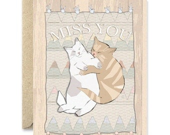 I miss you cat card, long distance relationship cat card, love you, miss you