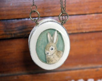 Oversized bunny pendant- Oval resin rabbit portrait necklace