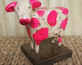 Beautiful Bessie - Rustic Clay Cow Sculpture