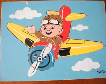 SIFO   Aeroplane. Jigsaw.  Wooden Jigsaw Puzzle Nursery Jigsaw puzzle. Flying Ace Wooden Jigsaw Nursery decor. 2 to 4 years old