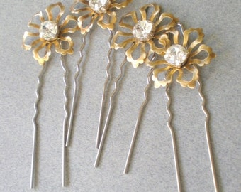 ON SALE Whimsical BRIDAL Hair Pins. Rhinestone Floral Hair Jewelry. Gift . Chic Prom. Bride Maids. Shower Gift. Flower Girl. Holiday Hair