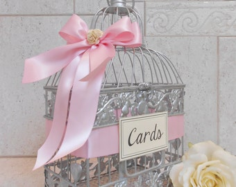 Small Silver and Light Pink Wedding Card Box / Wedding Card Holder / Birdcage Card Holder / Wedding Decor / Small Card Holder / Birdcage