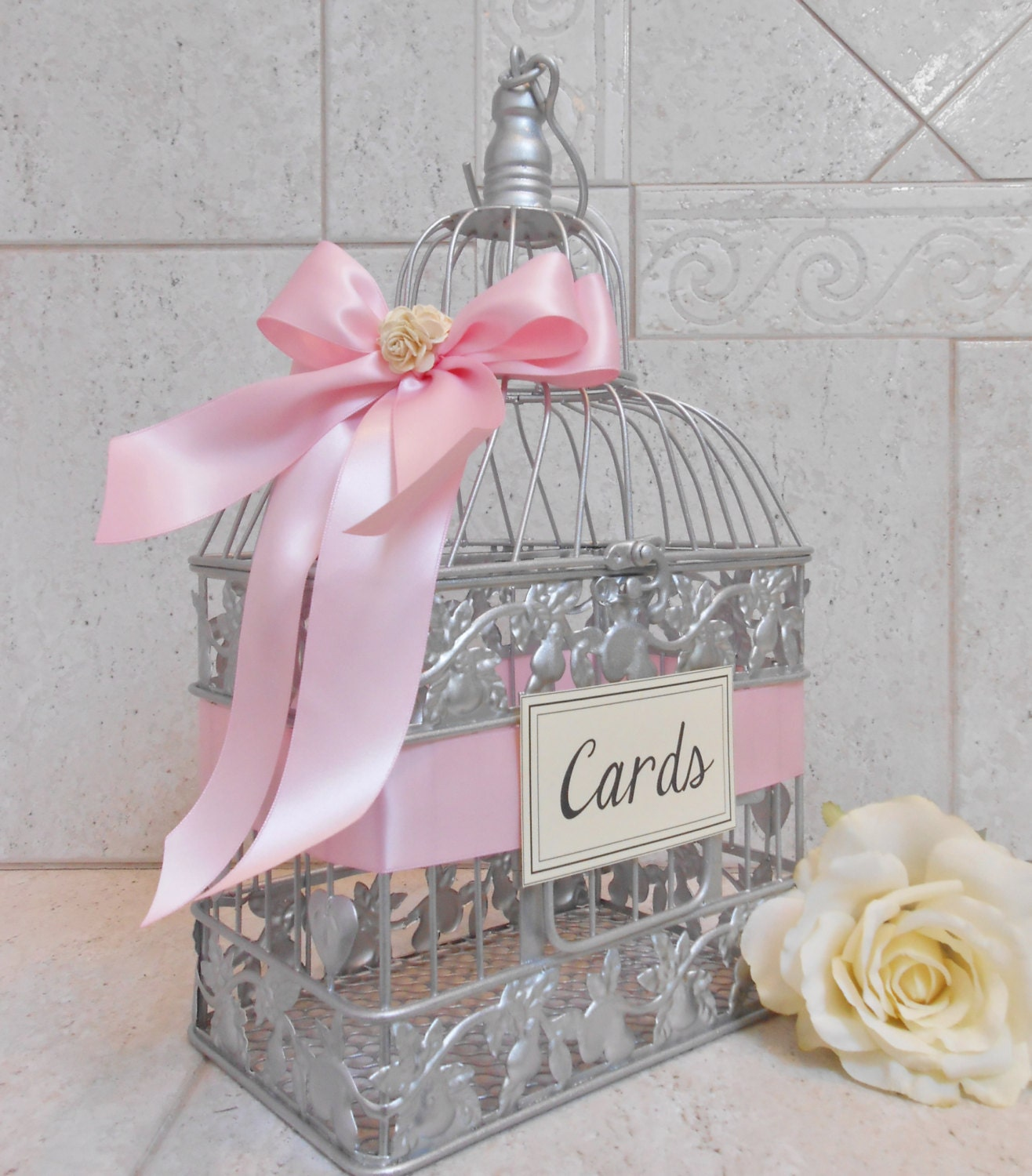 Silver and Light Pink Wedding Card Box Wedding Card Holder