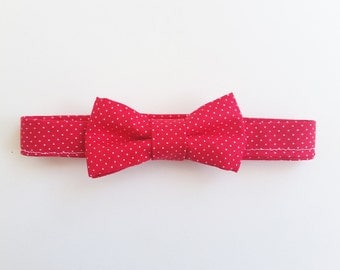 Red white polka dot hair bow,  baby hair bow, polka dot bow clip, bow headband, polka dot bow tie, hair bow, polka dot bow headband