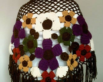 Hand Crocheted Colorful Flower Shawl - Ready for Worldwide Shipping