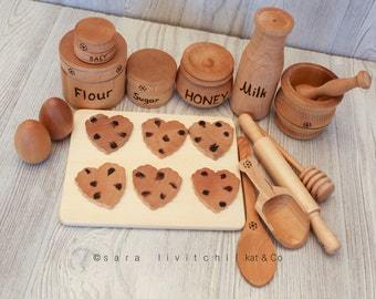 Deluxe edition Natural wooden Cookie Baking set for Play Kitchen