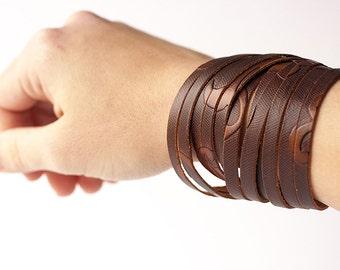 Leather Bracelet / Original Sliced Wrap Cuff / Amber Floral