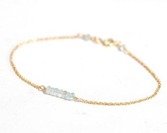 Tiny Aquamarine gold bracelet, Gemstone bar bracelet, Delicate gold bracelet, Skinny gold bracelet, Minimalist, March Birthstone Jewelry
