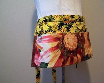 Sunflower Linen Cafe Apron, 3 Pocket Half apron, pocket apron, Utility Half apron, Crafters apron