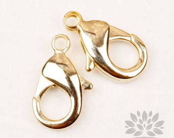 B015-G// Glossy Gold Plated 10 x 20mm Lobster Clasp Only, 4pcs