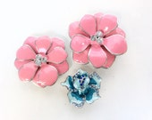 Enamel and Rhinestones flowers sliding beads pink and light blue set of 3 pieces