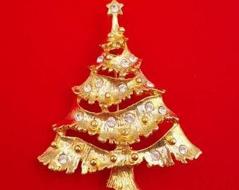 Christmas Tree Pin Rhinestone Tree Brooch Christmas in July Vintage Holiday Jewelry