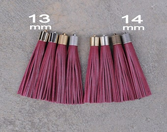 Burgundy Leather(cowhide) TASSEL  in 13 or 14mm Cap -4 colors Plated Cap- Pick cap size, cap color
