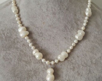 pearl necklace- baroque pearl necklace, 5-6 mm white freshwater pearl necklace 20 inch & pendant