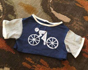 Vintage Boy's Bicycle Graphic Mesh Sleeves Belly T Shirt