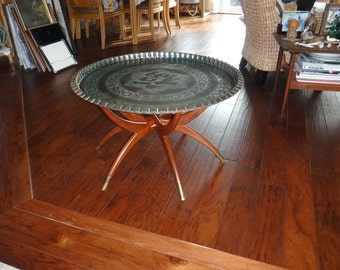 Vtg Good Fortune Chinese table w/folding wooden base,etched brass