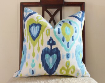 Blue and green ikat pillow cover, throw pillow, decorative pillow, accent pillow, cushion cover, 18""