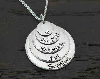 5 Disc Hand Stamped Necklace for Mom or Grandma, Mother's Day, Holiday Christmas gifts by Miss Ashley Jewelry