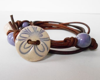 purple flower bracelet, purple button leather wrap bracelet, bohemian bracelet, OOAK unique wraparound bracelet, gift for her