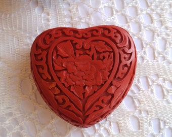 Vintage cinnabar box beautiful carved lacquer heart shaped