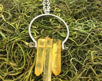Lemon Drop Crystal Pendant  Yellow Crystal Pendant    Boho Pendant     item 1148