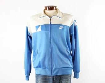 Vintage 80s NIKE Track Jacket Mens Blue Tag Athletic Gym Jacket Windbreaker 1980s XL Large Zipper Jacket
