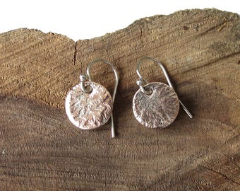 Petite copper earrings with reticulated silver, fused metal silversmithing, special 21st birthday gift for young women, UK silver jewellery