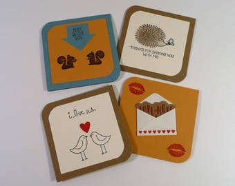 Mini Love Notes, set of 4, Mini cards with envelopes, adult lunch box notes, masculine unisex cards, I love us cards, hand stamped cards