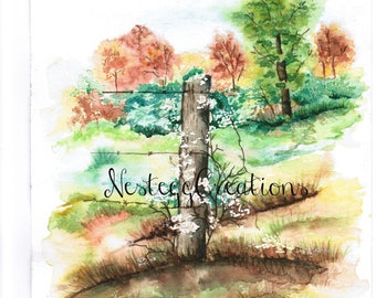 Watercolor Painting Fence Orginal Fall Trees Wall Art Home Decor  Collectables