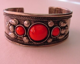 Unpolished Nickel Silver Gauntlet Cuff Bracelet Faceted Coral Red Cabochon Vintage Hippie Boho Chic
