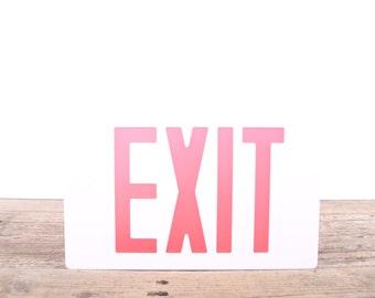 Vintage EXIT Sign Front Piece / White Plastic Transparent Exit Sign / Home Theater Decoration / Industrial Chic Decor / Antique Exit Sign