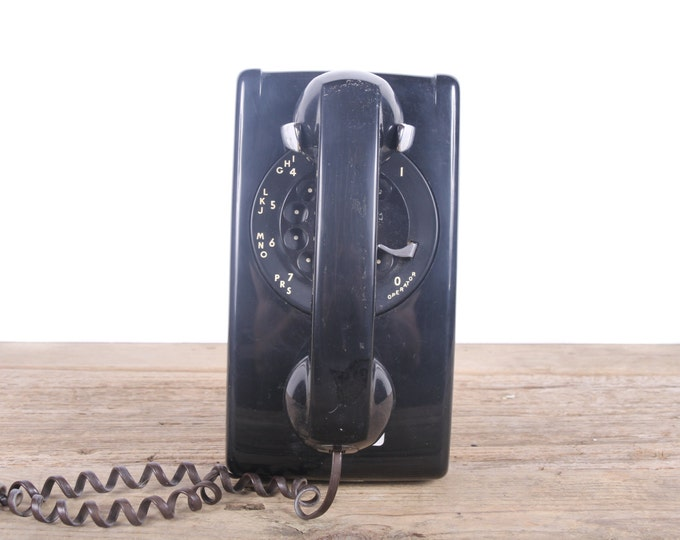 Vintage Black Rotary Phone / Black Wall Phone / Western Electric Bell System Phone / Retro Home Decor / Vintage Phone Prop Wired Home Phone