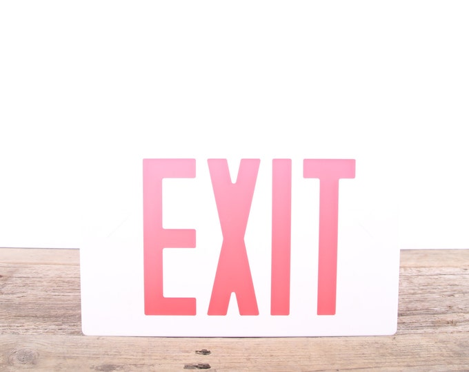 Vintage EXIT Sign Front Piece / White Plastic Transparent Exit Sign / Home Theater Decoration / Industrial Chic Decor / Antique Exit Sign