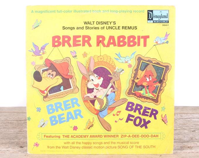 Vintage 1970 Walt Disney's Brer Rabbit Record / A Disneyland Record 3907 / Antique Vinyl Records / Old Records Music / Kids Movie Room Decor