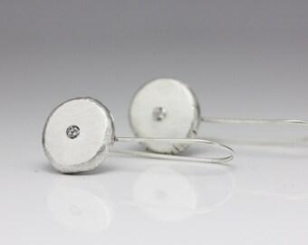 Sparkly Organic Sterling Silver Earrings, Cubic Zirconia, Diamond Alternative, Asymmetric, Unique Drop Earrings