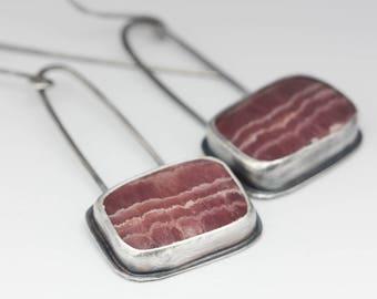 Rhodochrosite Earrings, Rhodochrosite & Sterling Earrings, Pink Earrings, Natural Gemstones, Artisan Earrings