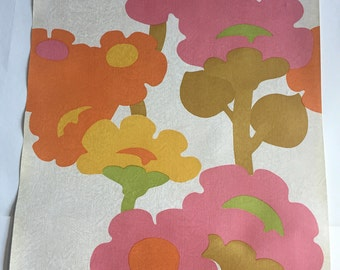 Vintage Wallpaper-1960s pop floral by Inaltera-by the yard