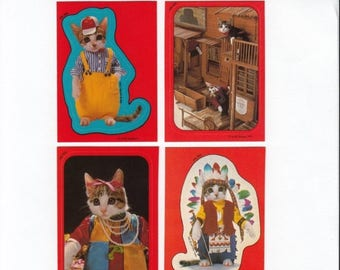 SALE Lot of Four Vintage Satoru Tuda Kitten Sticker Trading Cards - 80's Topps Cat Kitsch Dress Up Scrapbook Cowboy Saloon Feather