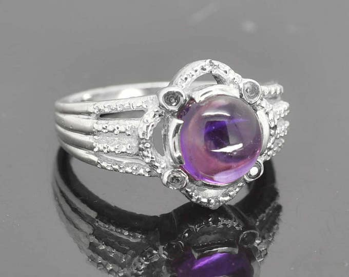 Amethyst ring, sterling silver ring, round purple gemstone ring, february birthstone